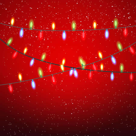 string of christmas lights: Yellow red green blue garland at black strings on red background with snow. template for greeting or postal card, vector illustration