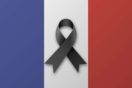 france: Backgroung national flag of france with black ribbo. Pray for Paris. vector illlustration