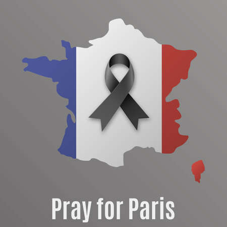 pray for: france map with national flag colors inside with black ribbon and text Pray for Paris at dark backround. vector illlustration