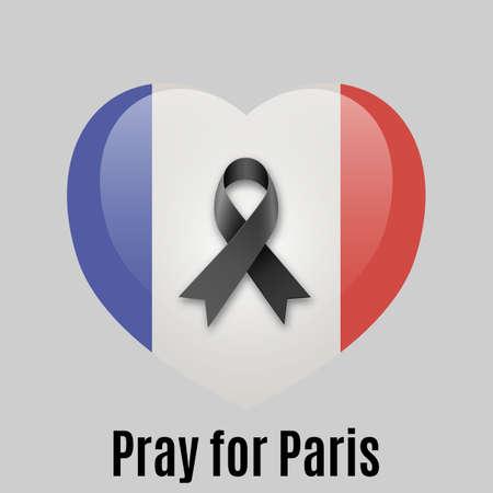bandera blanca: Corazón con la bandera nacional de Francia en el interior con la cinta negro y Reza texto para París en backround luz. vector illlustration