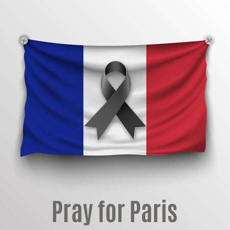 light backround: france realistic flag with black ribbon and text Pray for Paris at light backround. vector illlustration