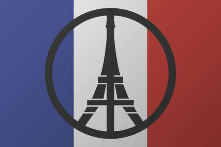 paz mundial: Logotipo de la paz en la silueta de la torre Eiffel en el fondo la bandera nacional de Francia. orar por Paris. ilustraci�n vectorial