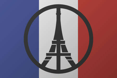 pray: Peace logo at eiffel tower silhouette at background france national flag. pray for paris. vector illustration Çizim
