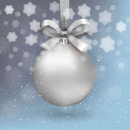 silver christmas ball with ribon and bow on light blue background with snow and snowflakes. template for greeting or postal card new year, vector illustration