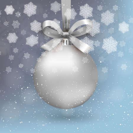 Boule de noël argent avec ribon et archet sur fond bleu clair avec la neige et les flocons de neige. modèle pour voeux ou carte postale nouvelle année, illustration vectorielle Banque d'images - 48038823