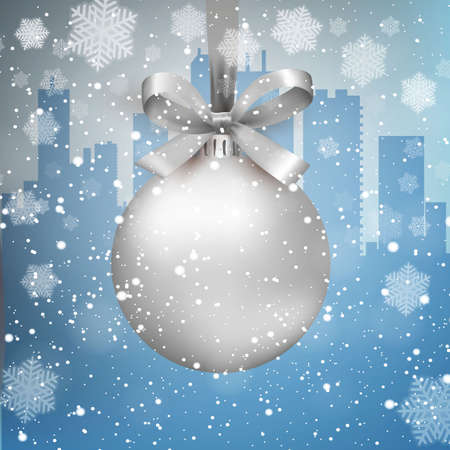 snow scape: Blue Winter background with city scape silhouette snow and snowflakes and silver glass ball with bow and ribbon,  template for greeting or postal card new year, vector illustration