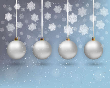 postal card: Four white christmas balls with ribons at light background with snow and snowflakes. Vector illustration, template for greeting  and postal card, promotion