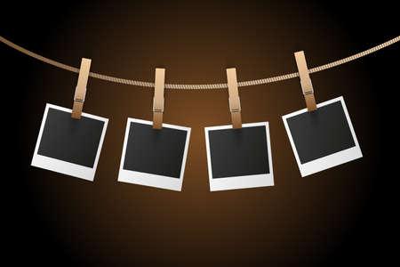 instant photo: Instant Photo Frames on Rope on dark background Illustration Illustration