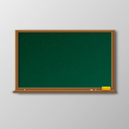 Empty green chalkboard with shadow with wooden frame with yellow sponge and white chalk on light background. template for cards. web design. illustration