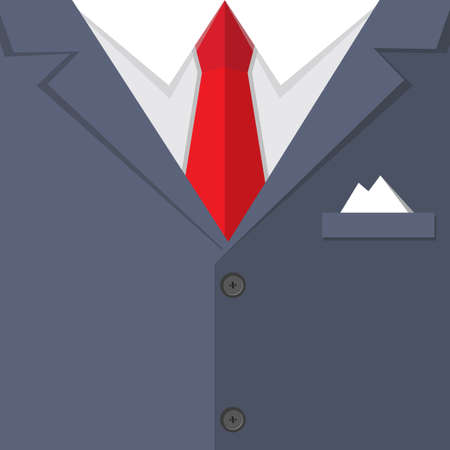 man's suit: Background of Blue buisness mans suit with red tie and handkerchief. illustration in flat design.  infographics web design elements