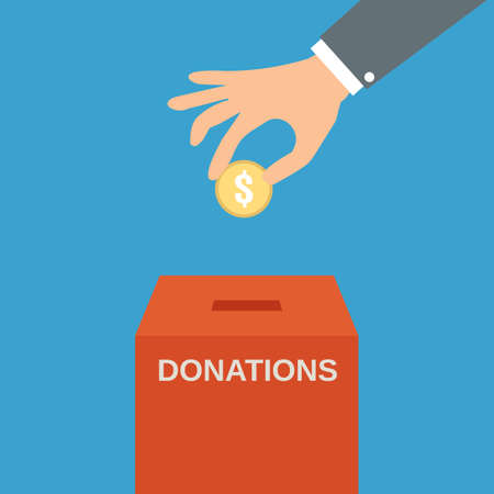 coin box: Buisness man hand putting gold coin in red donation box on blue backgound. illustration in flat style, infographics web design elements