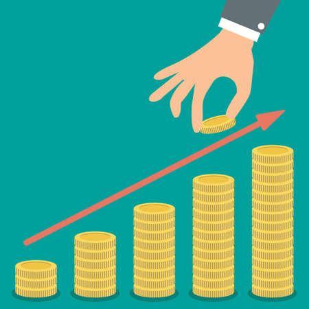 Buisness man hand houden gouden munt en groei stapels met munten met rode pijl op groene backgound illustratie in plat design. infographics web design elementen Vector Illustratie
