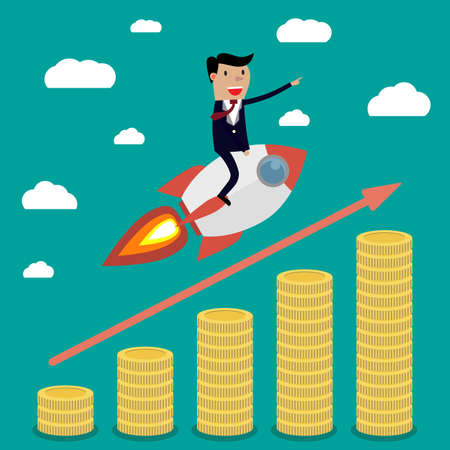 Businessman flying on rocket above stacks with gold coins, graph that shows increase in sales, on green wallpaper with clouds. illustration in flat design. infographics web design elements