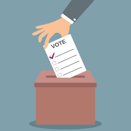 Human hand putting voting paper in the red ballot box. illustration in flat design, infographics web design elements Illustration