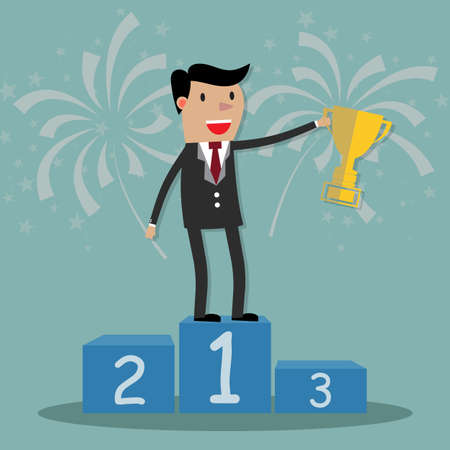 podium: Business man on podium holding a gold cup and fireworks at background. illustration in flat design on green background. Financials, work motivation Stock Photo