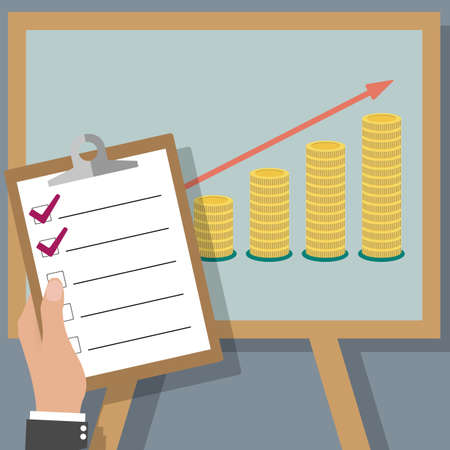 adding: Business man holding report check list board on projector screen with golden coins.  illustration in flat design.  infographics web design elements