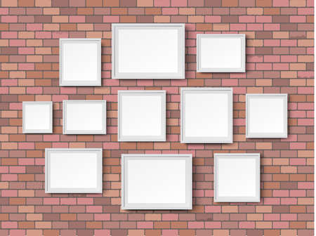 wall paintings: various sizes picture photo frames on red bricks wall background, illustration