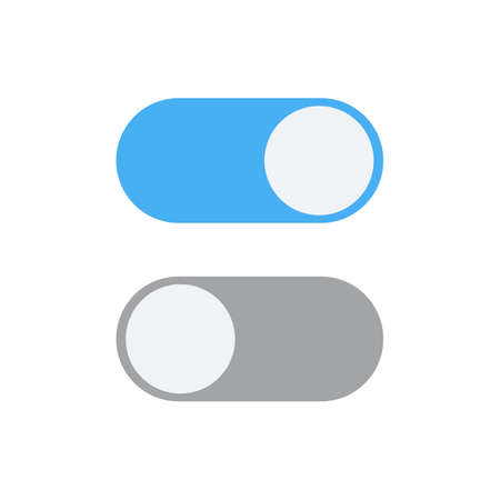 toggle switch: Toggle switch icon, blue in on position, grey in off, illustration in flat design. template for mobile applications, web design Stock Photo