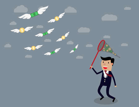business backgound: Businessman running with butterfly net chasing money which is flying in the air. Finance business concept. illustration in flat design on grey backgound Stock Photo