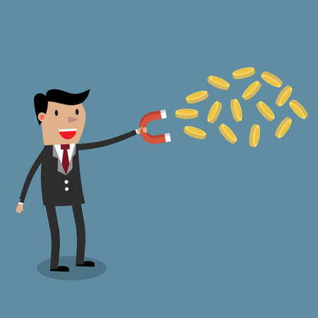 strong magnetic field: Businessman with magnet and Gold coin. illustration in flat design, Financials, work motivation