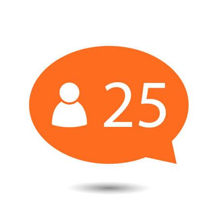 알림: Orange circle Like Counter Notification Icon with human icon. illustration. mobile device. web elements