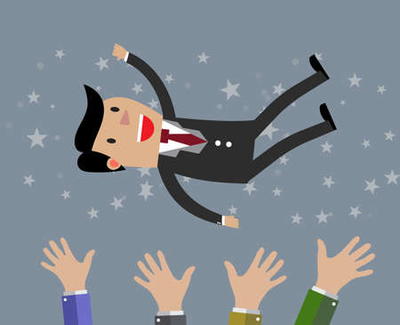 recognition: Businessman get thrown into the air by coworkers during celebration. illustration in flat design on grey background. Financials, work motivation