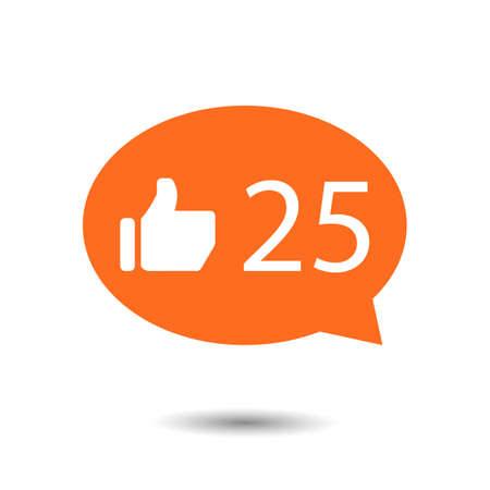 notification: orange circle Like Counter Notification Icons with thumb up icon. illustration. mobile device. web elements
