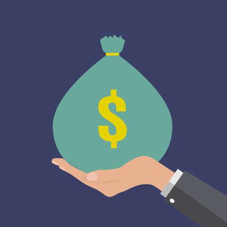 hand holding money bag: Buisness man Hand holding green money bag with dollar symbol at dark blue background, illustration in flat design,  infographics web design elements