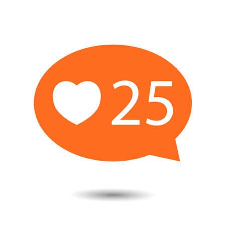 알림: orange circle Like Counter Notification Icon with heart icon. illustration. mobile device. web elements 일러스트