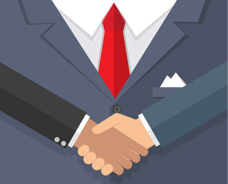 equal opportunity: Background of Blue buisness mans suit with red tie and handkerchief. and handshake, illustration in flat design.  infographics web design elements