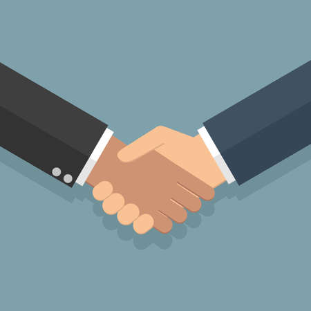 equal opportunity: Businessmans handshake. illustration in flat design at grey background. shaking hands. successful transaction