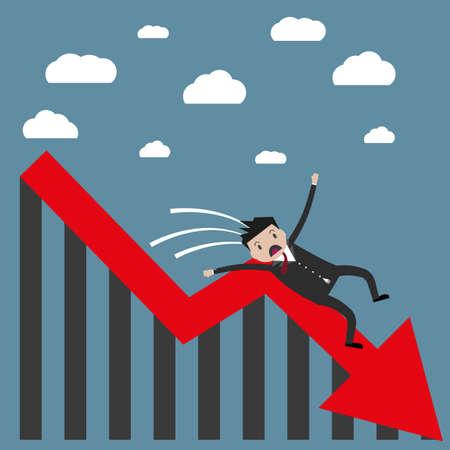 hombre cayendo: empresario de dibujos animados cayendo del gráfico de la flecha roja. Perdedor, rompió concepto. ilustración vectorial en diseño plano sobre fondo azul