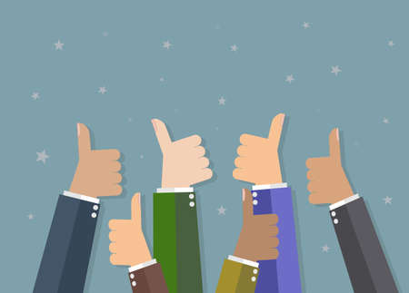cheer up: Six cartoon Businessmans hands hold thumbs up. vector illustration in flat design on grey background. Financials, work motivation