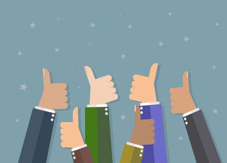 Sześć cartoon businessmans ręce trzymają kciuki. ilustracji wektorowych w płaskiej konstrukcji na szarym tle. Instytucje finansowe, motywacja praca