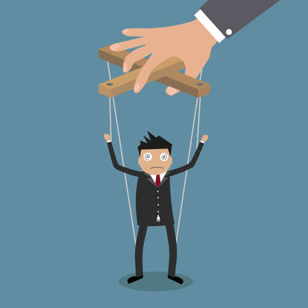 títere: Marioneta del hombre de negocios de dibujos animados sobre cuerdas controladas a mano, ilustración vectorial en el diseño de planos en azul backgound