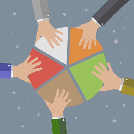 cartoon hands: Five Businessmans Hands picking pie chart parts. Financials, market concepts. vector illustration in flat design on grey background