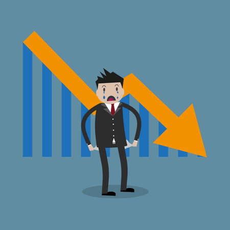 worthless: cartoon businessman standing with empty pockets. Arrow pointing downward. Loser, broke concept. vector illustration in flat design on blue background Stock Photo