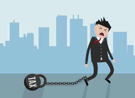 city scape: Cartoon Businessman pulling a weight with TAX text. Vector illustration in flat design on city scape background. Financials,