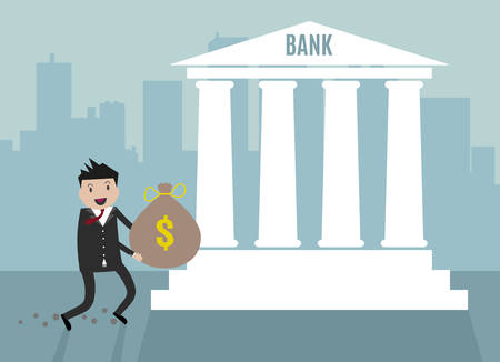 accumulation: Cartoon Businessman carry his money bag into bank. vector illustration in flat design on blue city scape backgound, financials investment Illustration