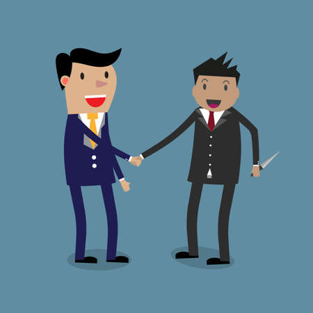 revenge: two cartoon businessmans handshaking while one of them holding knife behind his back. vector illustration in flat design on blue backgound. business risk concept. Illustration