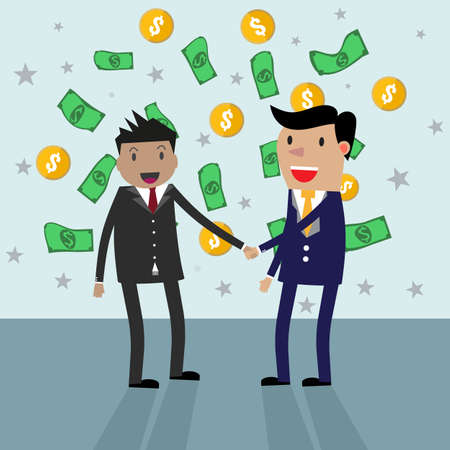 equal opportunity: cartoon Businessmans handshake in rain of money. vector illustration in flat design at grey background with dollars and gold coins. shaking hands. successful transaction