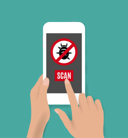 antivirus: Hands holding white smartphone with antivirus bug icon. vector illustration on green backgound.