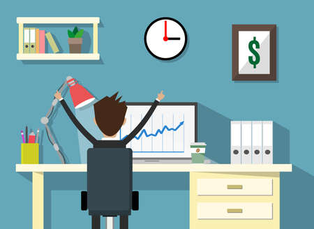 front desk: cartoon businessman happy sitting infront of his laptop with the graph showing the arrow going up. Business growth concept. Vector illustration in flat design.