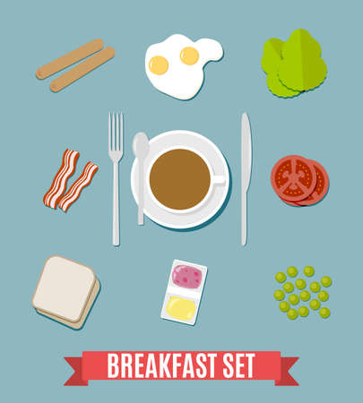 mealtime: Breakfast set. including sausages, fried eggs, becon, tomato, pea, salad, toasts bread, jam and butter, coffee cup fork spoon and knife. vector illustration in flat design on blue background
