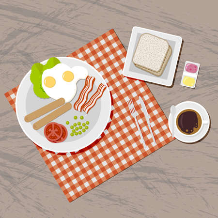 bread and butter: Breakfast set. Blanket on wooden table. including sausages, fried eggs, becon, tomato, pea, salad, toasts bread, jam and butter, coffee cup fork spoon and knife. vector illustration in flat design
