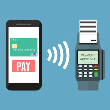 mobile banking: Pos terminal confirms the payment by smartphone. Vector illustration in flat design on blue background. nfc payments concept