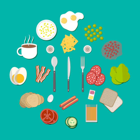 beans on toast: Set of breakfast components, with sausages fried eggs, becon tomato cucumber croissant coffee toast bread, beans, salad salami cheese pea orange juice fork spoon and knife. vector illustration in flat