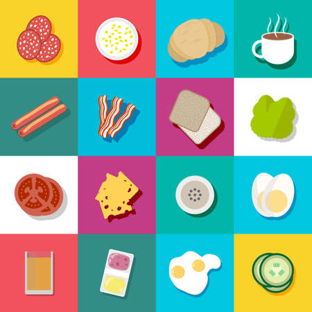 boiled eggs: Breakfast colorful icon set. including sausages, bacon, coffee, orange juice, cheese, tomato, fried and boiled eggs, jam and butter, cucumber, salad. vector illustration in flat design