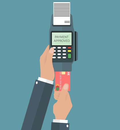 Hand holding pos terminal and pushing credit card in to it. Using pos terminal concept. vector illustration in flat design on grey background Иллюстрация