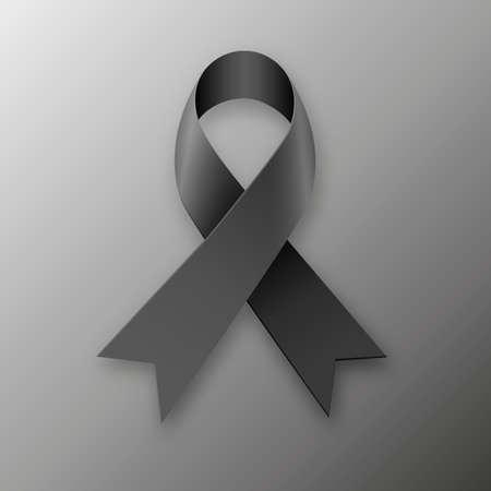 melanoma: Black awareness ribbon on dark background. Mourning and melanoma symbol. vector illustration Stock Photo
